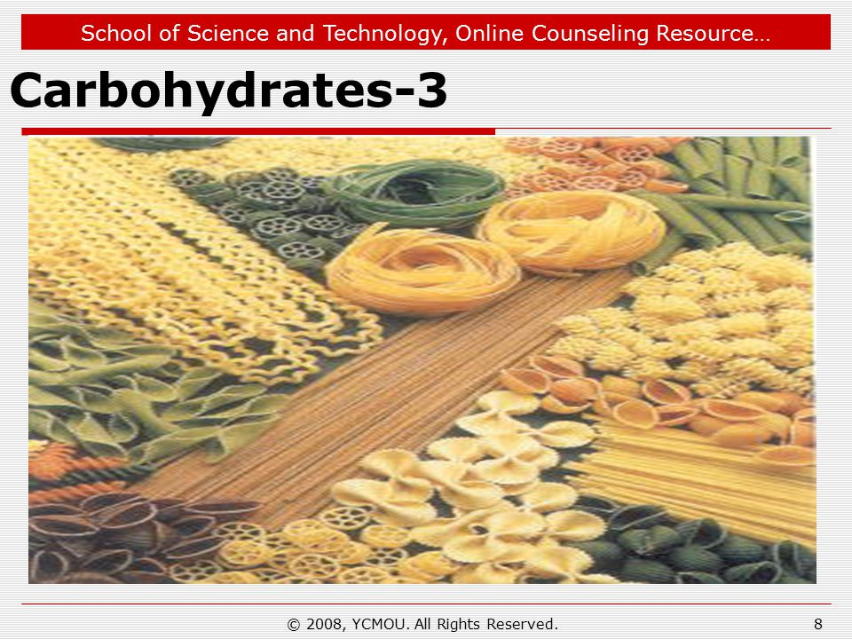 School of Science and Technology, Online Counseling Resource… Carbohydrates-4  More complex carbohydrate polymers covalently attached to proteins or lipids act as signals that determine the intracellular location or metabolic fate of these hybrid molecules, called glycoconjugates.