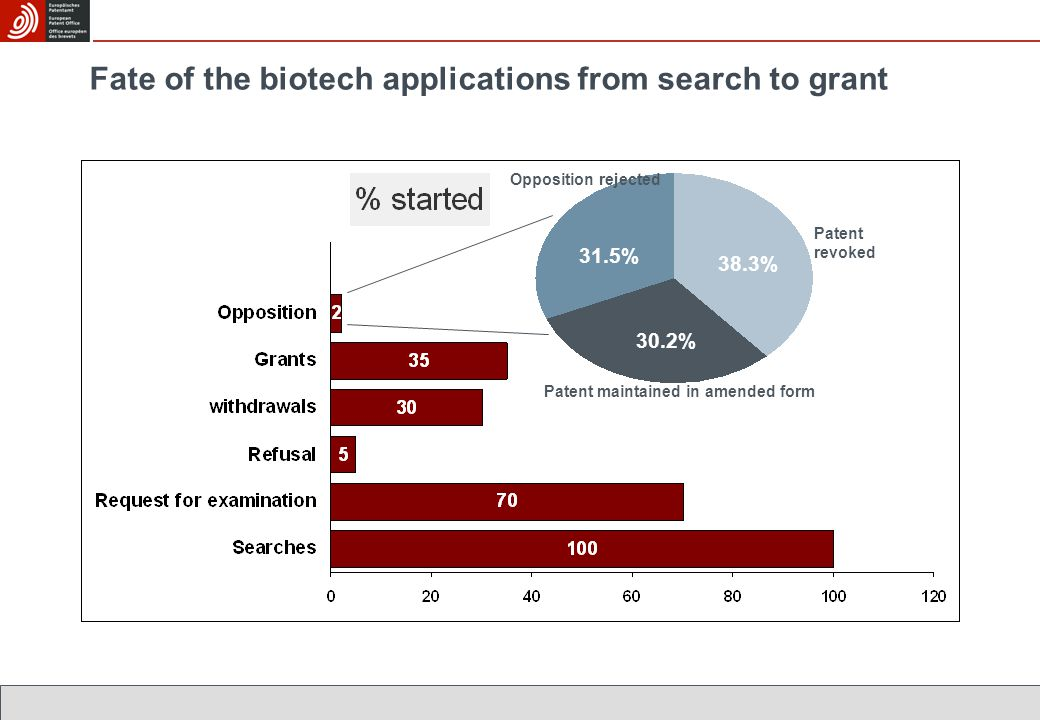 Fate of the biotech applications from search to grant Patent revoked Patent maintained in amended form Opposition rejected 38.3% 30.2% 31.5%
