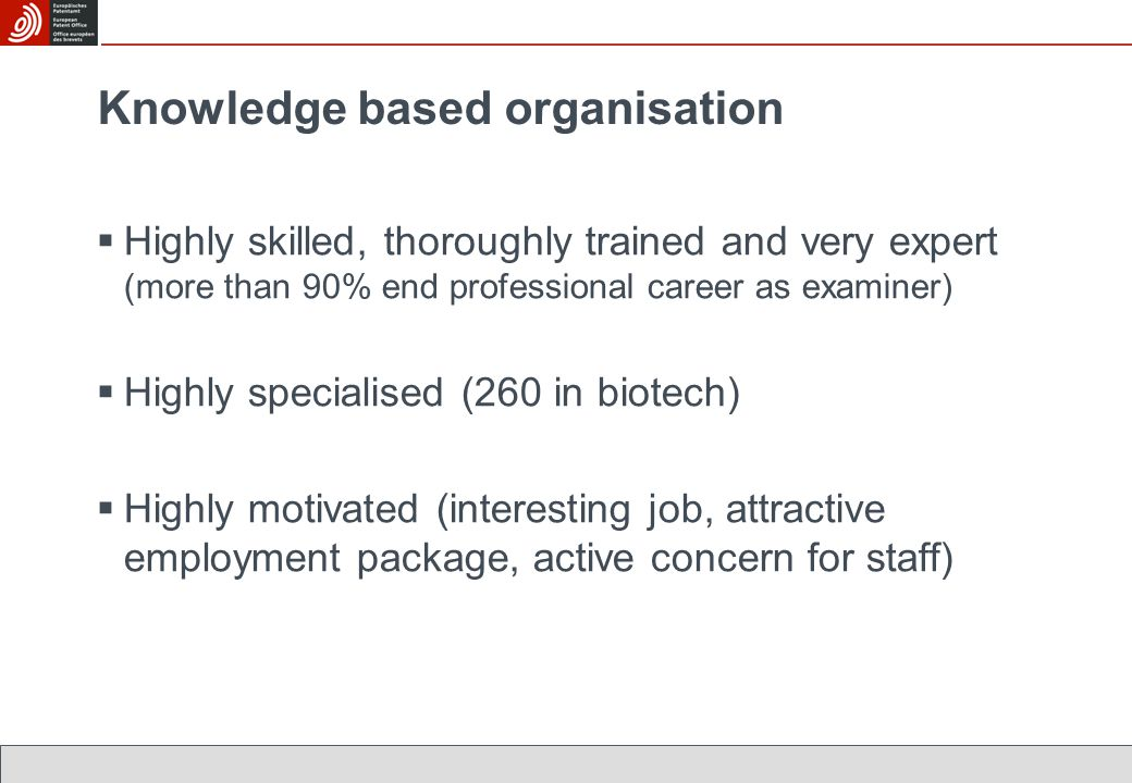 Knowledge based organisation  Highly skilled, thoroughly trained and very expert (more than 90% end professional career as examiner)  Highly specialised (260 in biotech)  Highly motivated (interesting job, attractive employment package, active concern for staff)