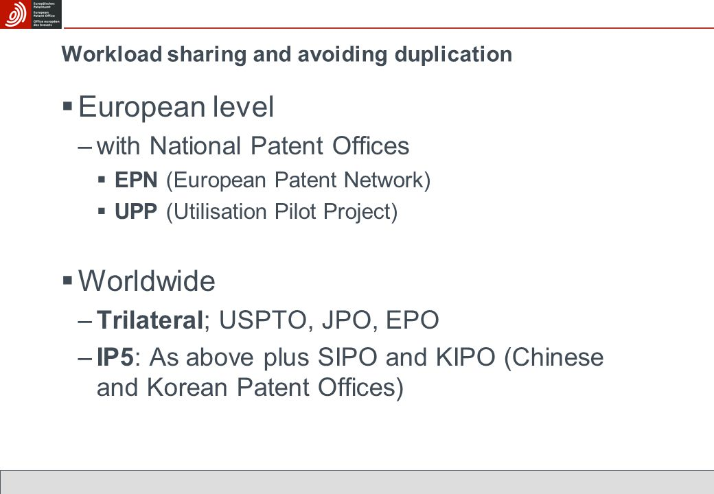 Workload sharing and avoiding duplication  European level –with National Patent Offices  EPN (European Patent Network)  UPP (Utilisation Pilot Project)  Worldwide –Trilateral; USPTO, JPO, EPO –IP5: As above plus SIPO and KIPO (Chinese and Korean Patent Offices)