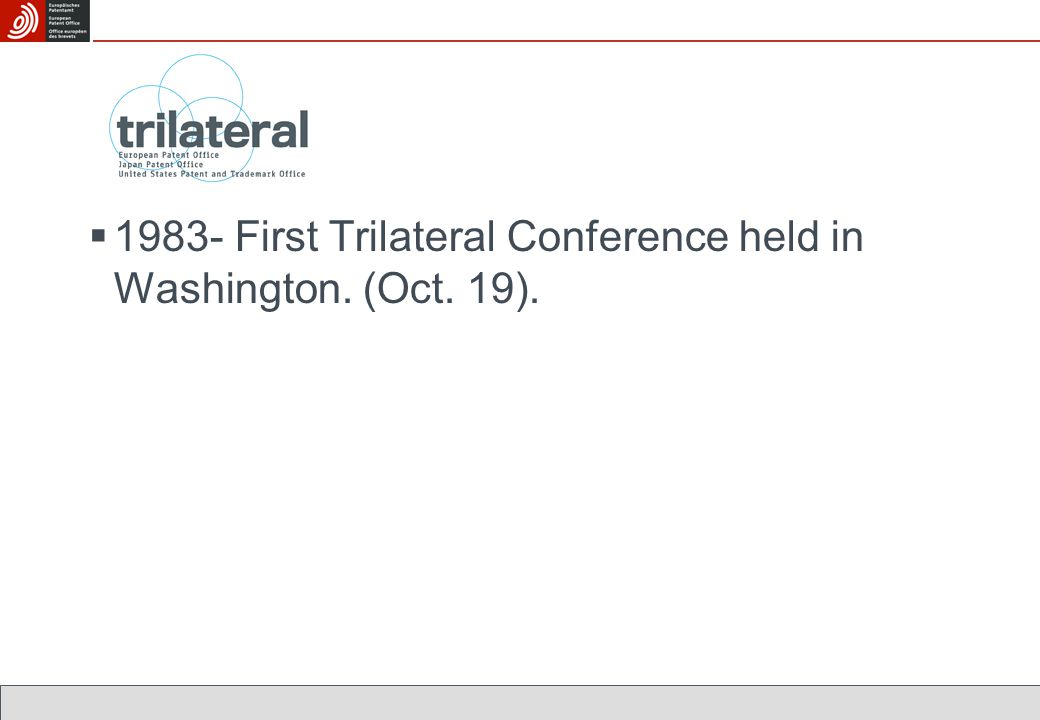  1983- First Trilateral Conference held in Washington. (Oct. 19).