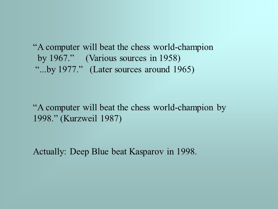 A computer will beat the chess world-champion by 1967. (Various sources in 1958) ...by 1977. (Later sources around 1965) A computer will beat the chess world-champion by 1998. (Kurzweil 1987) Actually: Deep Blue beat Kasparov in 1998.