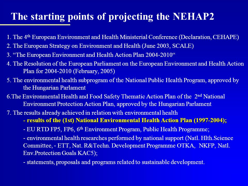The starting points of projecting the NEHAP2 1.