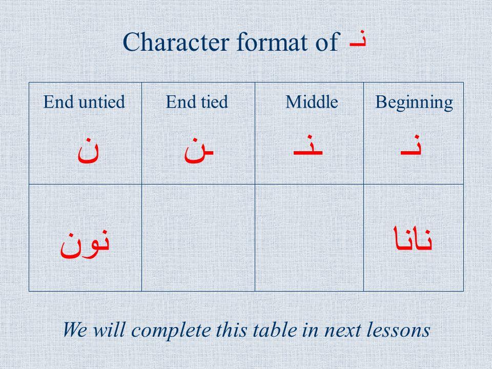 نـ نانا ـننـنـ Character format of نـ End untiedEnd tiedMiddleBeginning نون We will complete this table in next lessons