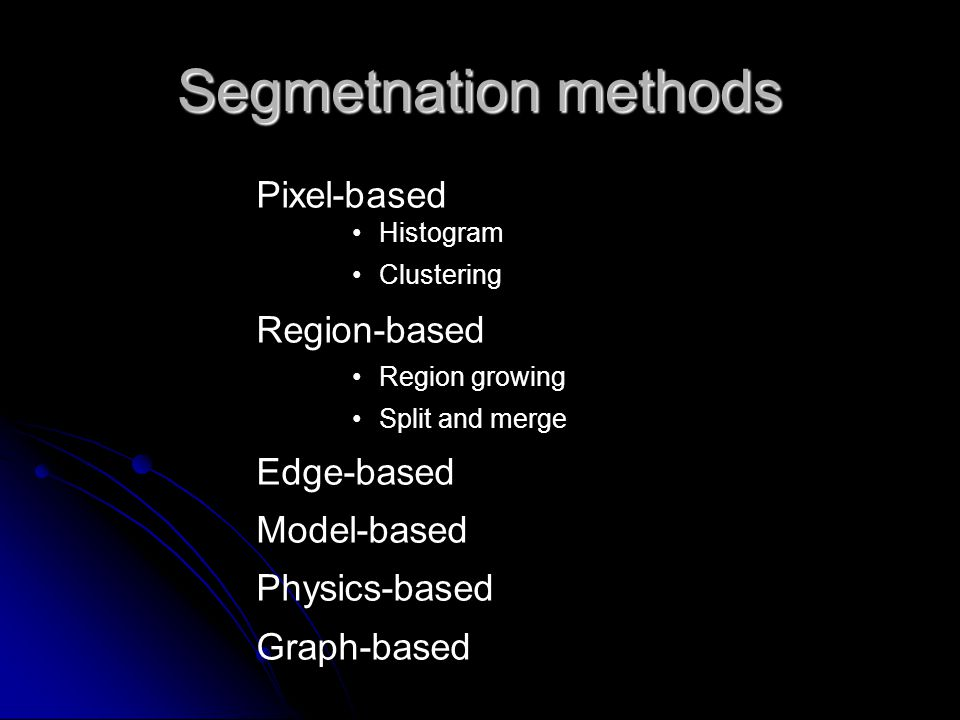 Segmetnation methods Pixel-based Histogram Clustering Region-based Region growing Split and merge Edge-based Model-based Physics-based Graph-based