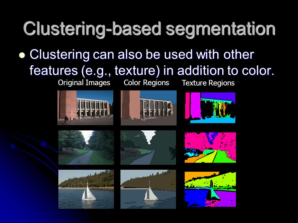 Clustering-based segmentation Clustering can also be used with other features (e.g., texture) in addition to color. Clustering can also be used with o