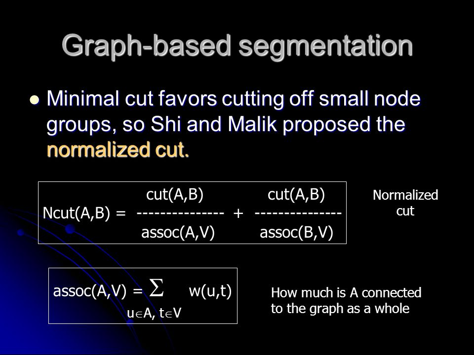 Minimal cut favors cutting off small node groups, so Shi and Malik proposed the normalized cut. Minimal cut favors cutting off small node groups, so S