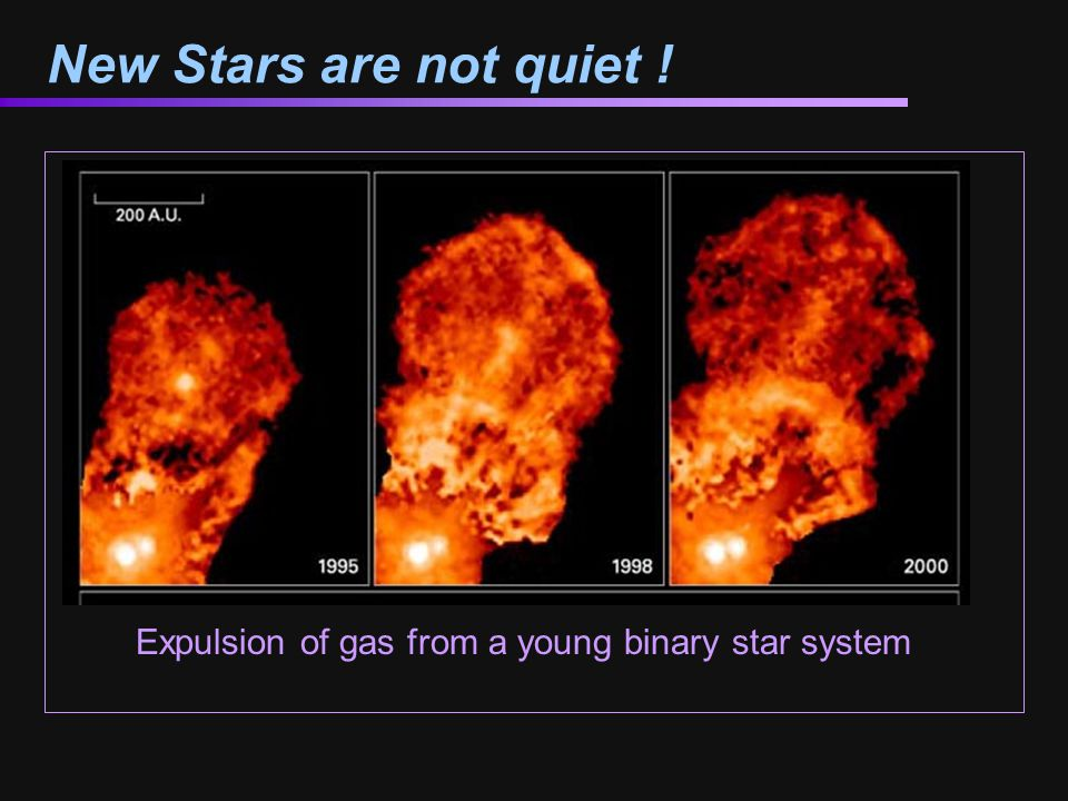 New Stars are not quiet ! Expulsion of gas from a young binary star system