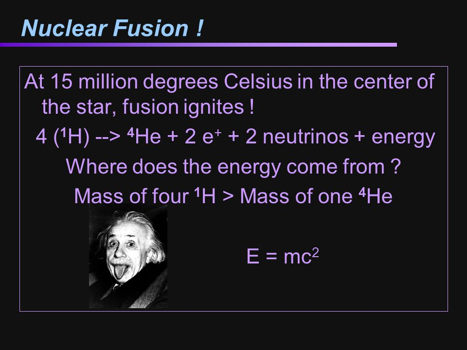 Fusion by the Numbers 4 ( 1 H) --> 4 He + 2 e + + 2 neutrinos + energy Mass of 4 1 H = 4 x 1.00794 amu = 4.03176 amu Mass of 1 4 He = 4.002602 amu Difference in mass = 0.029158 amu = 4.84 x 10 -29 kg.