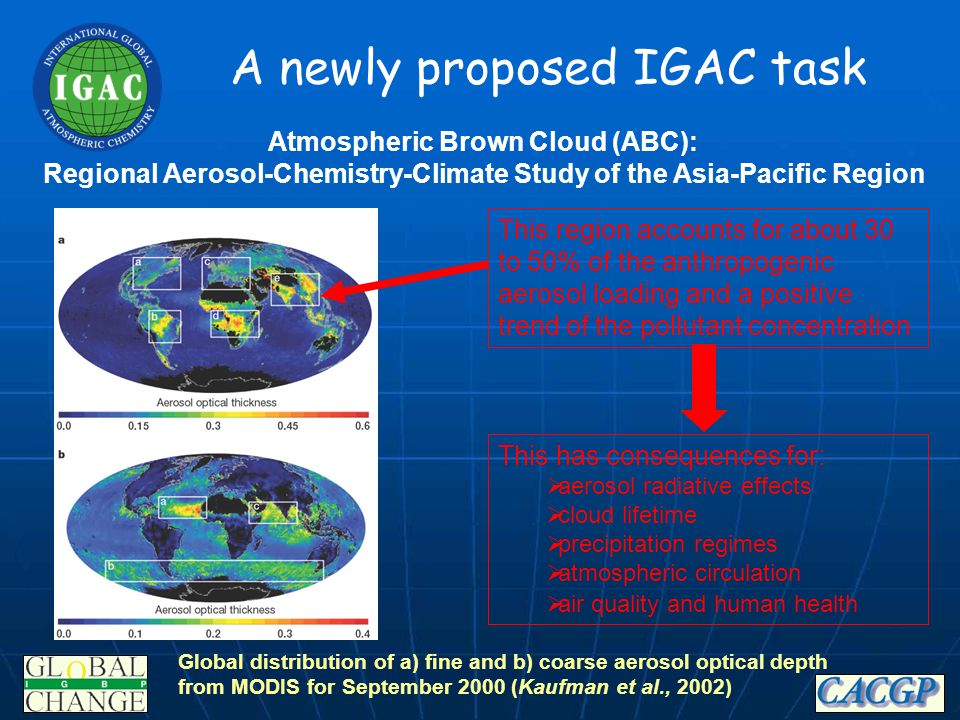 A newly proposed IGAC task This region accounts for about 30 to 50% of the anthropogenic aerosol loading and a positive trend of the pollutant concent