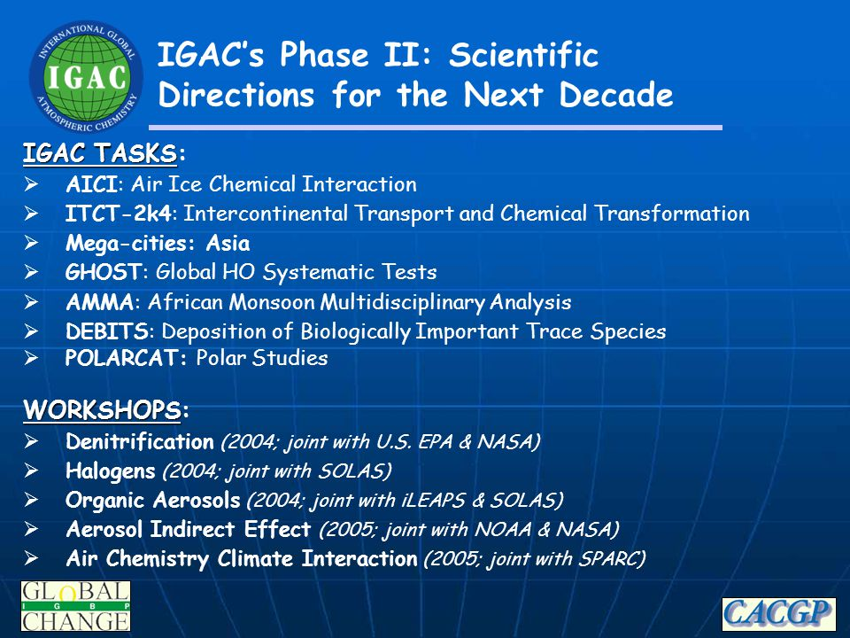 IGAC's Phase II: Scientific Directions for the Next Decade IGAC TASKS IGAC TASKS:  AICI: Air Ice Chemical Interaction  ITCT-2k4: Intercontinental Tr