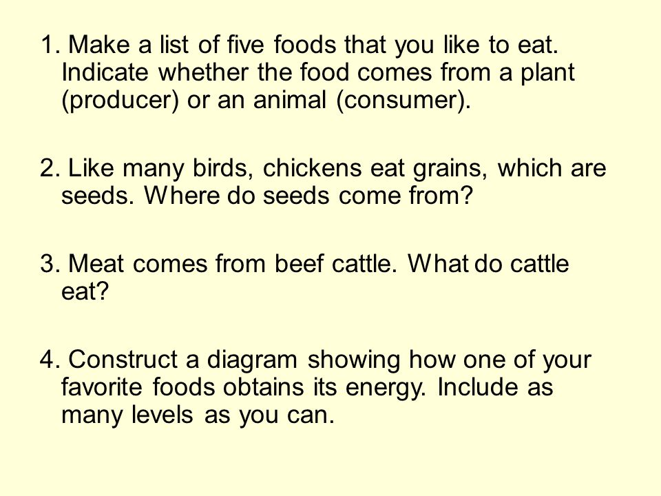 1. Make a list of five foods that you like to eat. Indicate whether the food comes from a plant (producer) or an animal (consumer). 2. Like many birds
