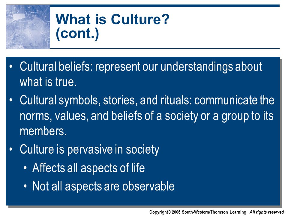 Copyright© 2005 South-Western/Thomson Learning All rights reserved What is Culture.