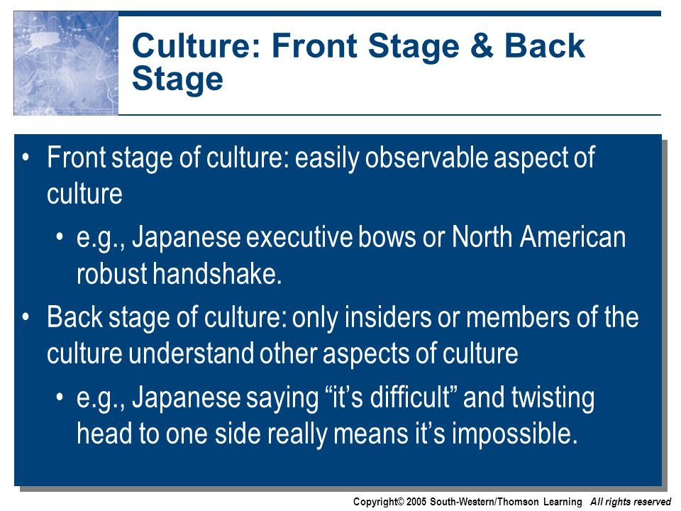 Copyright© 2005 South-Western/Thomson Learning All rights reserved Culture: Front Stage & Back Stage Front stage of culture: easily observable aspect of culture e.g., Japanese executive bows or North American robust handshake.