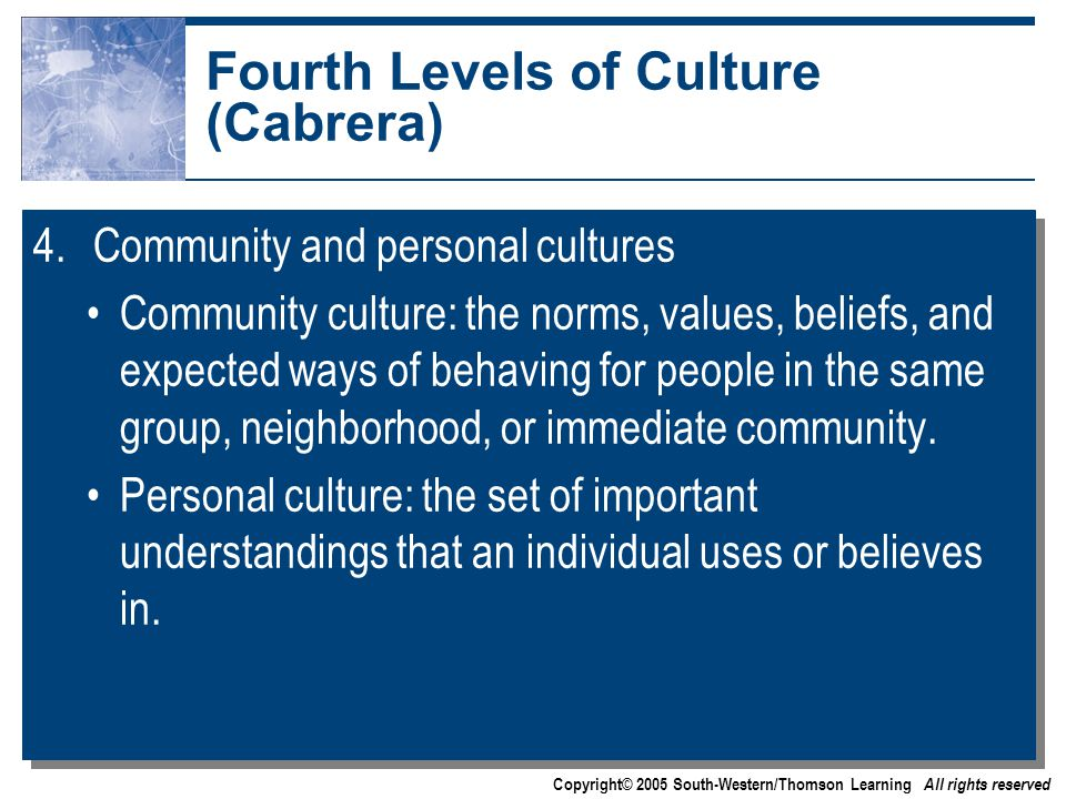Copyright© 2005 South-Western/Thomson Learning All rights reserved Fourth Levels of Culture (Cabrera) 4.Community and personal cultures Community culture: the norms, values, beliefs, and expected ways of behaving for people in the same group, neighborhood, or immediate community.