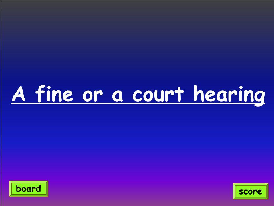 A fine or a court hearing score board