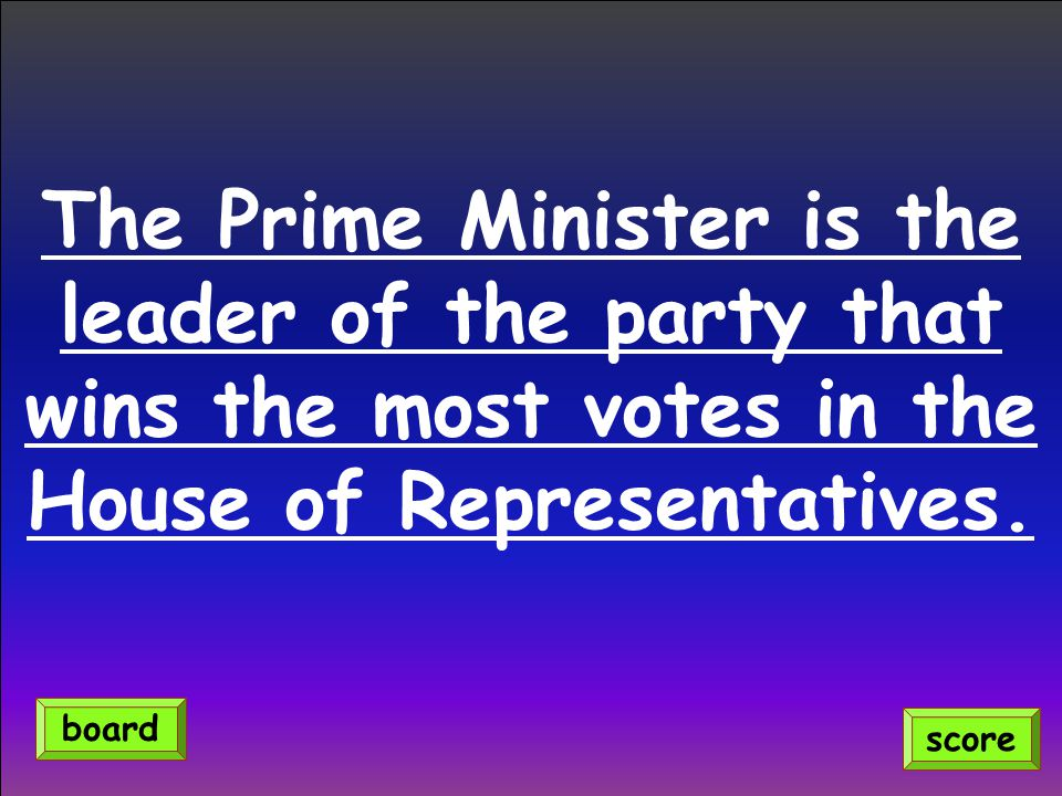 The Prime Minister is the leader of the party that wins the most votes in the House of Representatives.