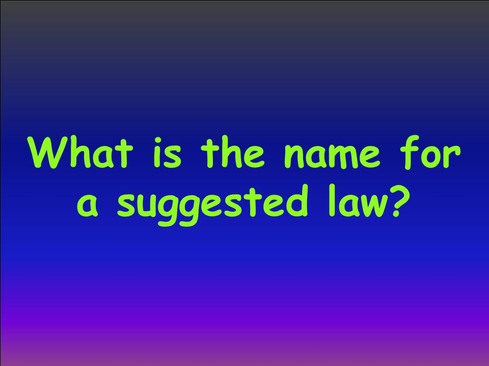 What is the name for a suggested law