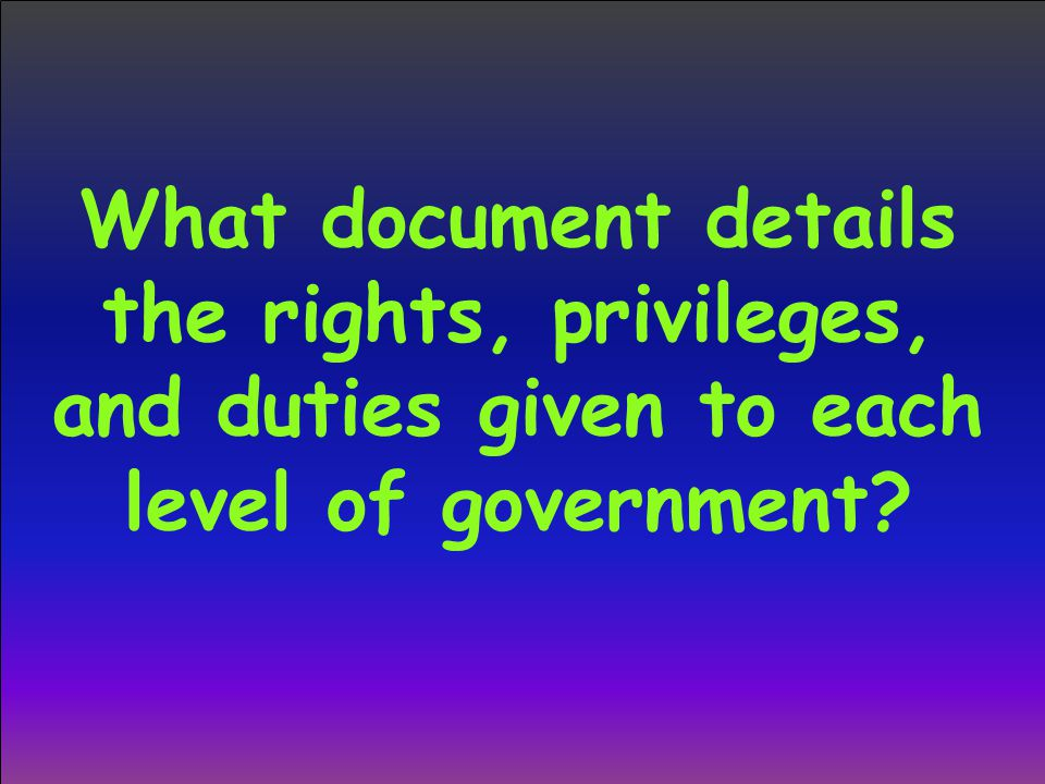 What document details the rights, privileges, and duties given to each level of government