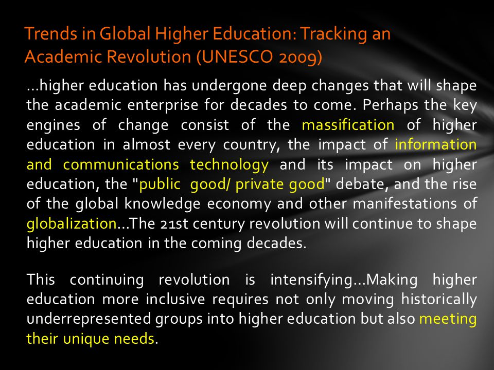 …higher education has undergone deep changes that will shape the academic enterprise for decades to come.