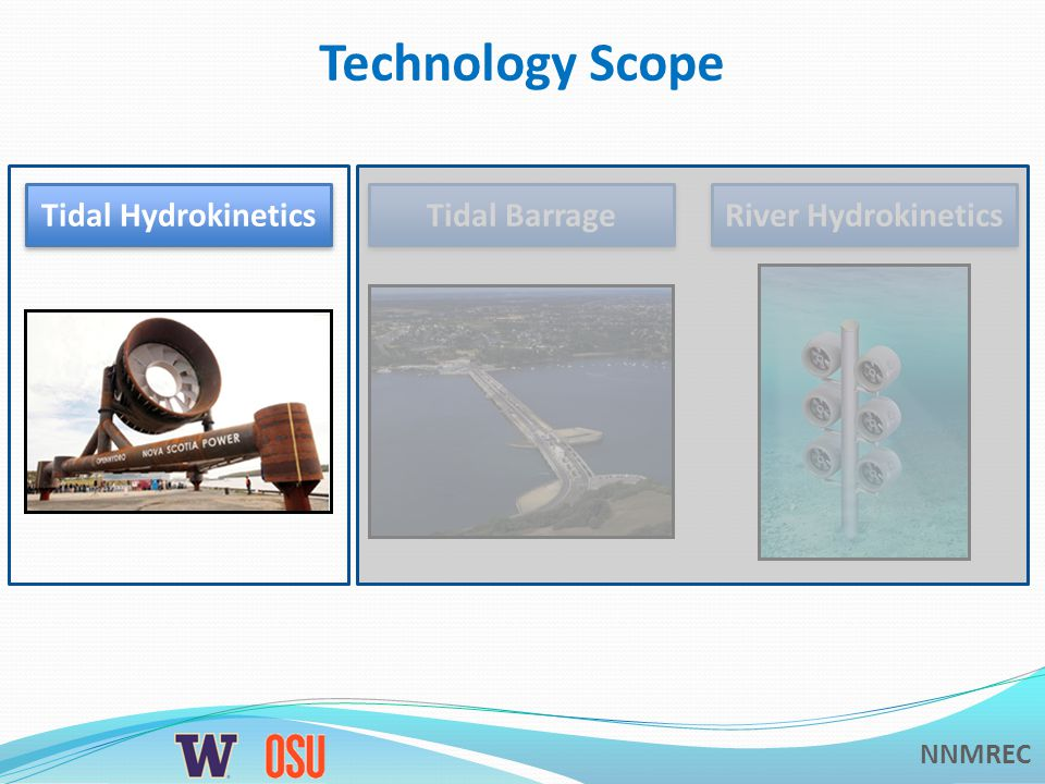 NNMREC Technology Scope Tidal Hydrokinetics Tidal Barrage River Hydrokinetics