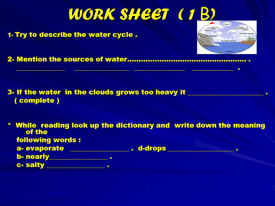 WORK SHEET- P-1 - Answer Q-1 ; Tiny drops of fresh water mix with air and sometimes become cloud in the sky.