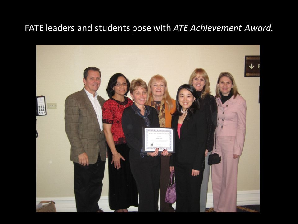 FATE leaders and students pose with ATE Achievement Award.