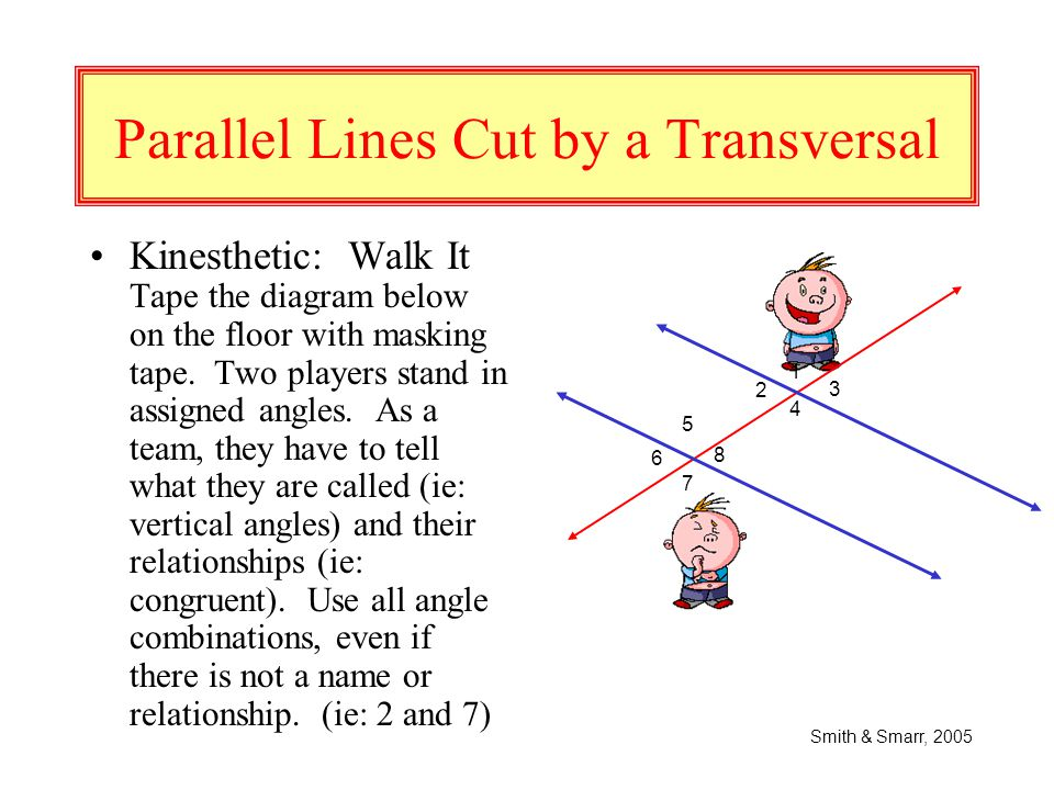 "Parallel Lines Cut by a Transversal Auditory: Play ""Shout Out!!"" Given the diagram below and commands on strips of paper (with correct answers provide"