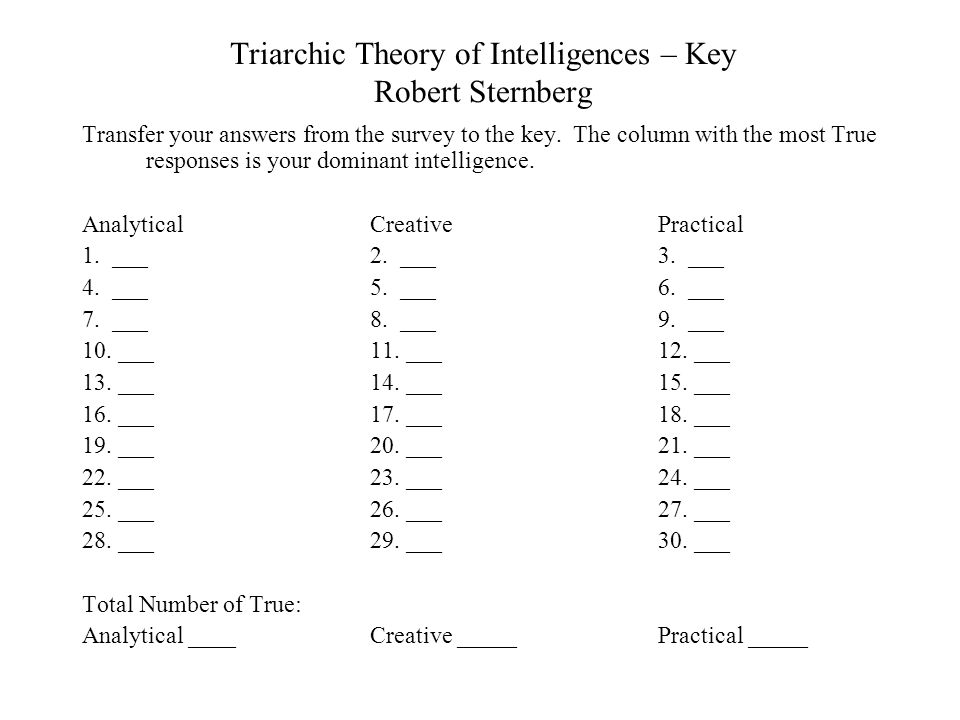 Triarchic Theory of Intelligences Robert Sternberg Mark each sentence T if you like to do the activity and F if you do not like to do the activity. 16