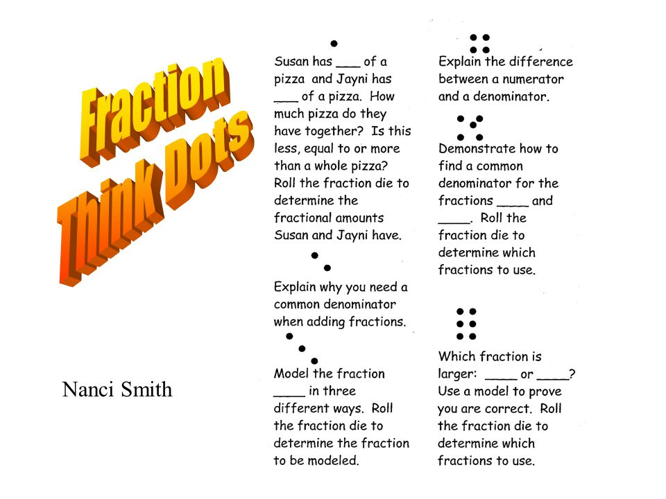 Nanci Smith Describe how you wouldExplain the difference solve or rollbetween adding and the die to determine yourmultiplying fractions, own fractions