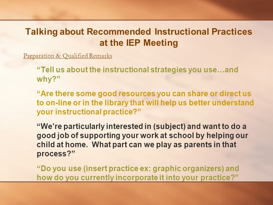 """Preparation & Qualified Remarks """"Tell us about the instructional strategies you use…and why?"""" """"Are there some good resources you can share or direct u"""