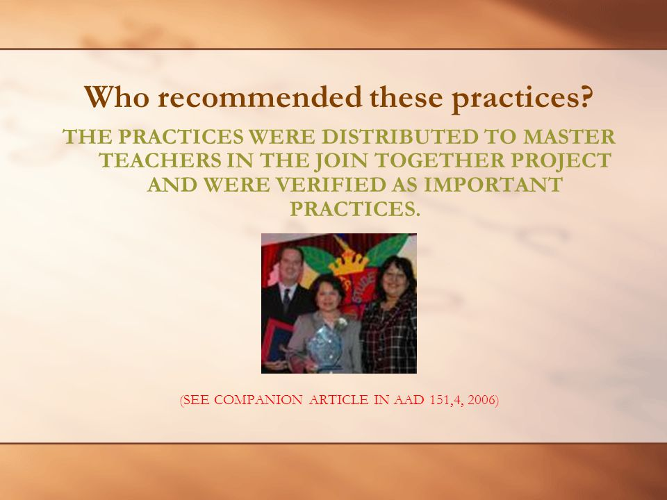 Who recommended these practices.