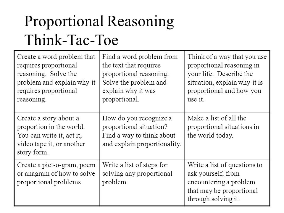 Proportional Reasoning Think-Tac-Toe Create a word problem that requires proportional reasoning.