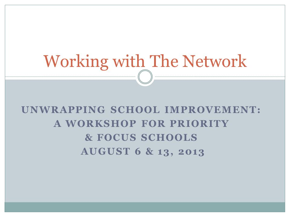 UNWRAPPING SCHOOL IMPROVEMENT: A WORKSHOP FOR PRIORITY & FOCUS SCHOOLS AUGUST 6 & 13, 2013 Working with The Network