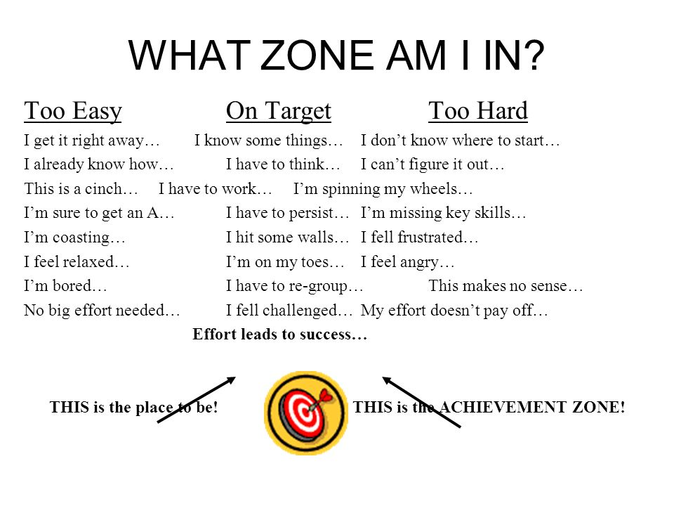 WHAT ZONE AM I IN? Too EasyOn Target Too Hard I get it right away… I know some things…I don't know where to start… I already know how…I have to think…