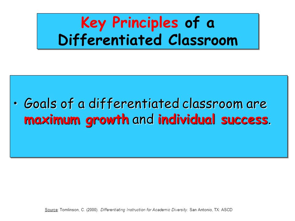 Key Principles of a Differentiated Classroom Goals of a differentiated classroom are maximum growth and individual success.Goals of a differentiated c