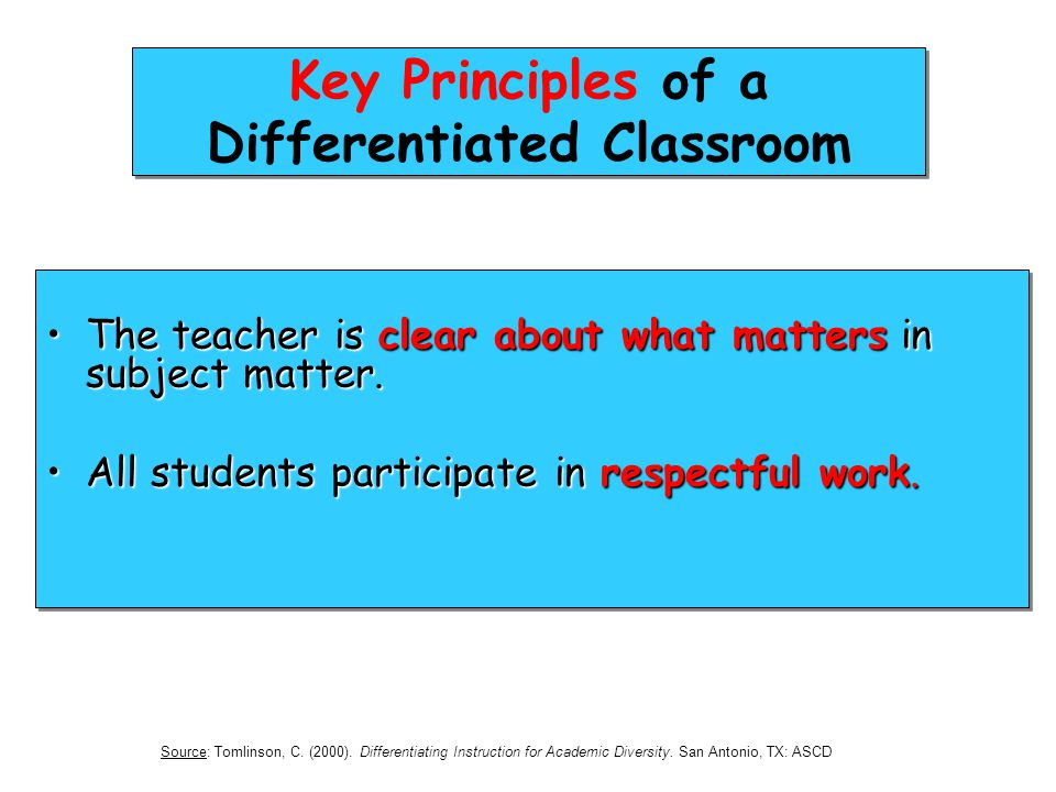 Key Principles of a Differentiated Classroom The teacher is clear about what matters in subject matter.The teacher is clear about what matters in subj