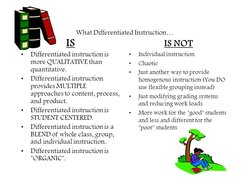 What Differentiated Instruction… IS Differentiated instruction is more QUALITATIVE than quantitative. Differentiated instruction provides MULTIPLE app
