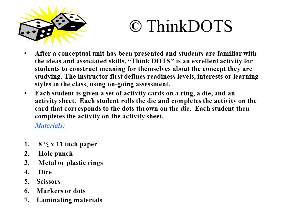 """© ThinkDOTS After a conceptual unit has been presented and students are familiar with the ideas and associated skills, """"Think DOTS"""" is an excellent ac"""