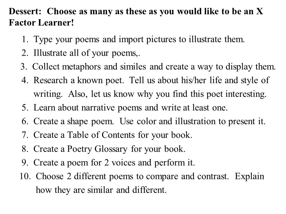 Dessert: Choose as many as these as you would like to be an X Factor Learner! 1. Type your poems and import pictures to illustrate them. 2. Illustrate