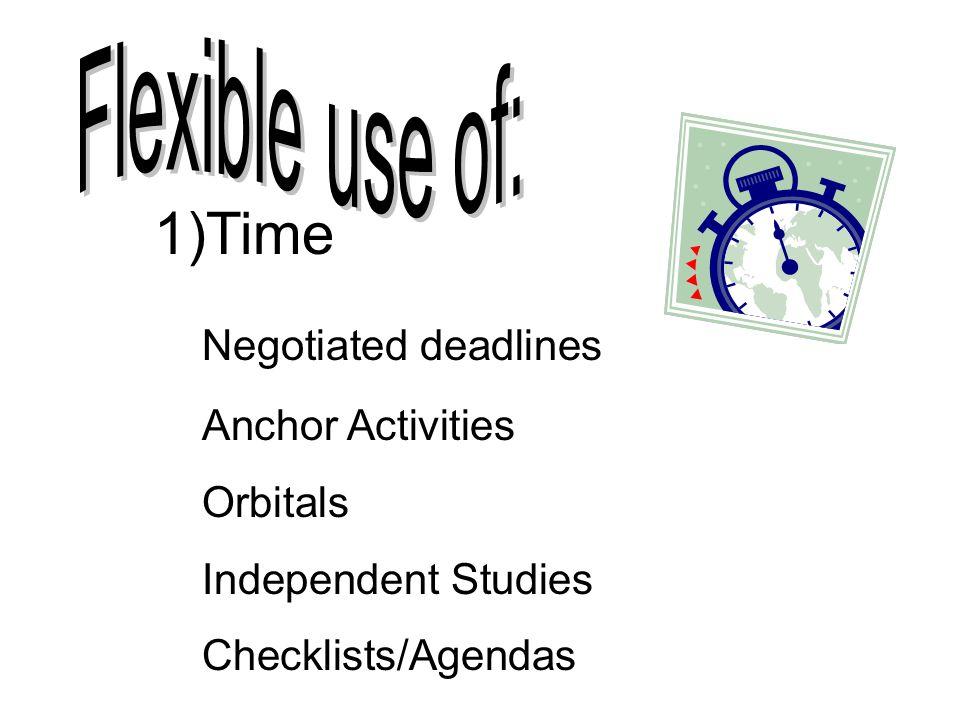 1)Time Negotiated deadlines Anchor Activities Orbitals Independent Studies Checklists/Agendas