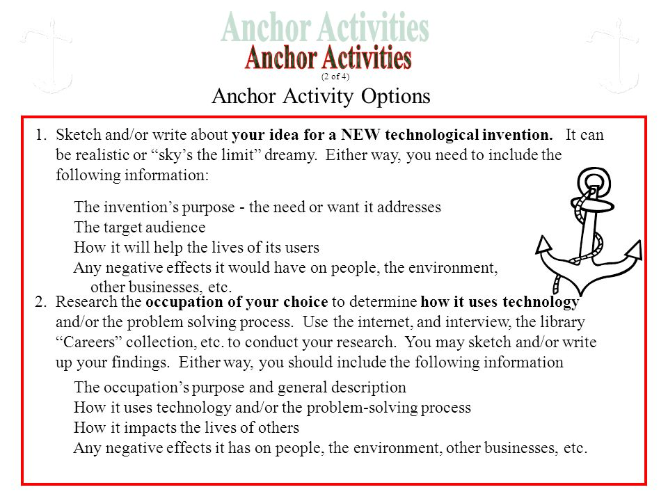 """Anchor Activity Options 1. Sketch and/or write about your idea for a NEW technological invention. It can be realistic or """"sky's the limit"""" dreamy. Eit"""