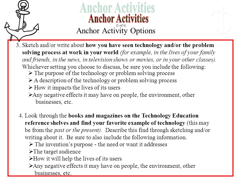 Anchor Activity Options (3 of 4) 3. Sketch and/or write about how you have seen technology and/or the problem solving process at work in your world (f