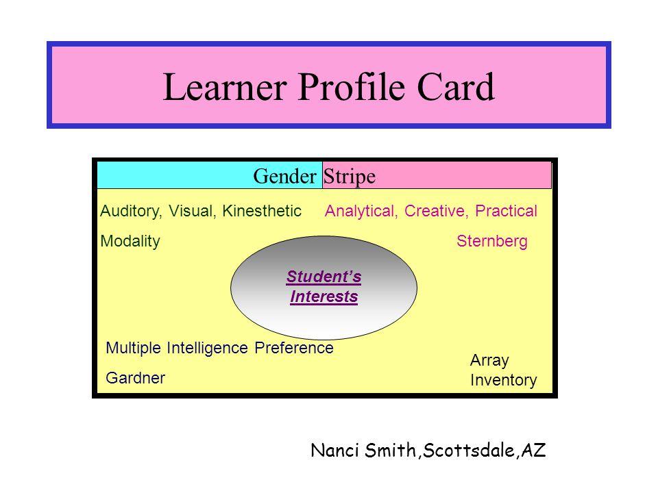 Learner Profile Card Auditory, Visual, Kinesthetic Modality Multiple Intelligence Preference Gardner Analytical, Creative, Practical Sternberg Student