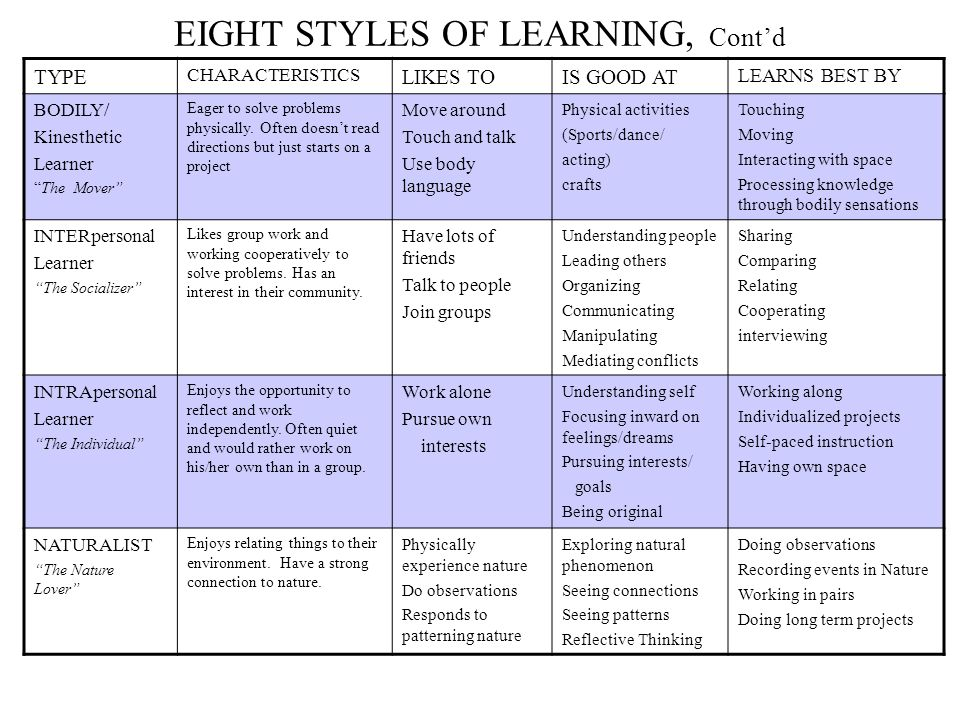 """EIGHT STYLES OF LEARNING, Cont'd TYPE CHARACTERISTICS LIKES TOIS GOOD AT LEARNS BEST BY BODILY/ Kinesthetic Learner """"The Mover"""" Eager to solve problem"""