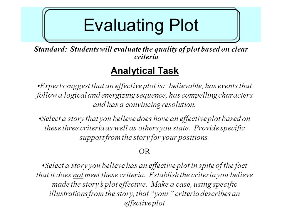 Evaluating Plot Standard: Students will evaluate the quality of plot based on clear criteria Analytical Task Experts suggest that an effective plot is