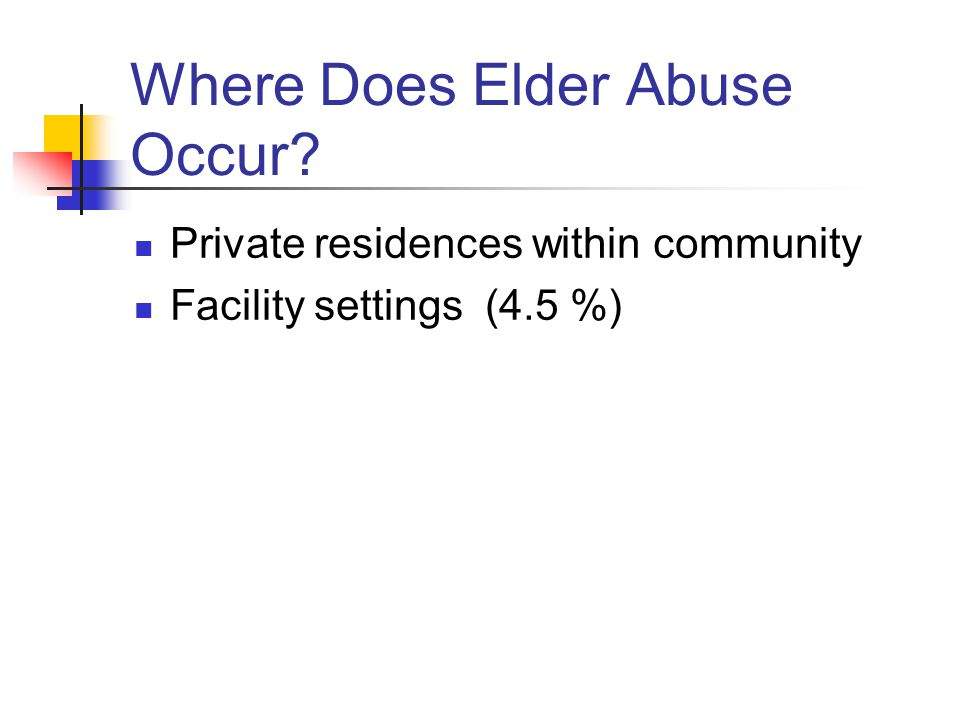 Where Does Elder Abuse Occur? Private residences within community Facility settings (4.5 %)