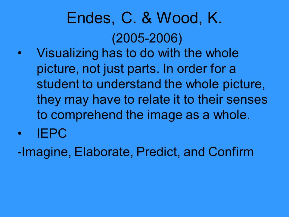 Endes, C. & Wood, K. (2005-2006) Visualizing has to do with the whole picture, not just parts.