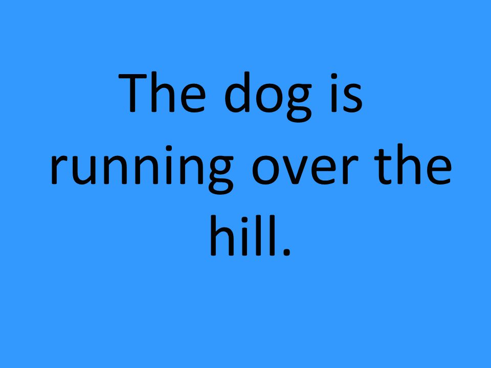 The dog is running over the hill.