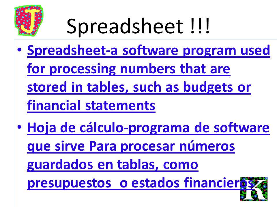 Spreadsheet !!.